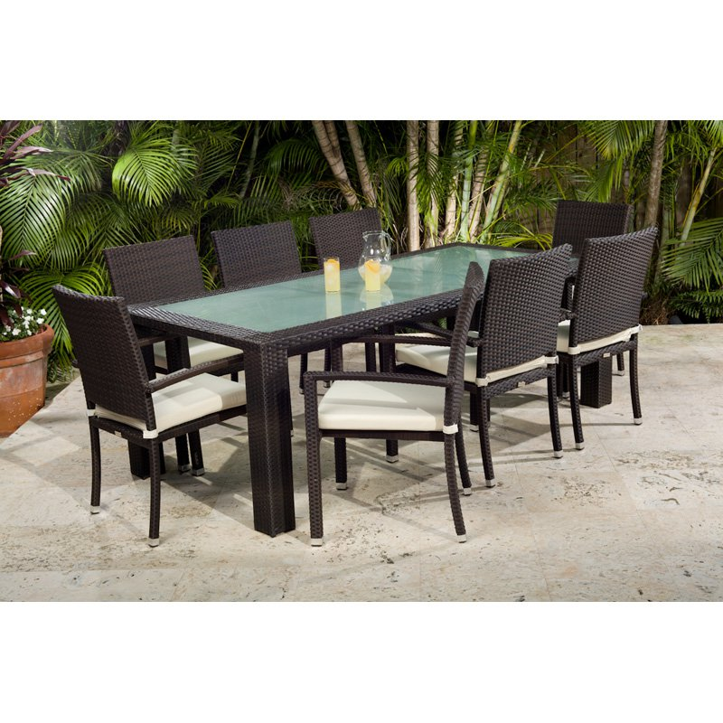 Source Outdoor Zen All-Weather Wicker Patio Dining Set - Seats 8