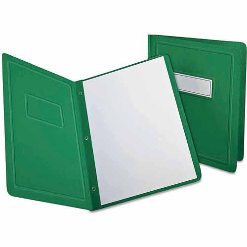 Oxford Report Cover, 3 Fasteners, Panel and Border Cover, Letter, Green, 25 per box