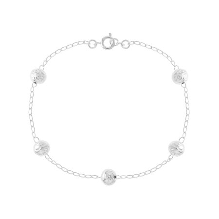 Silver Plated Ball Bracelet Thin Chain Link Ladies Woman 8