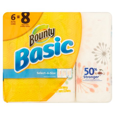 Bounty Basic Big Roll Select A Size Print Paper Towels  95 Sheets  6 Rolls