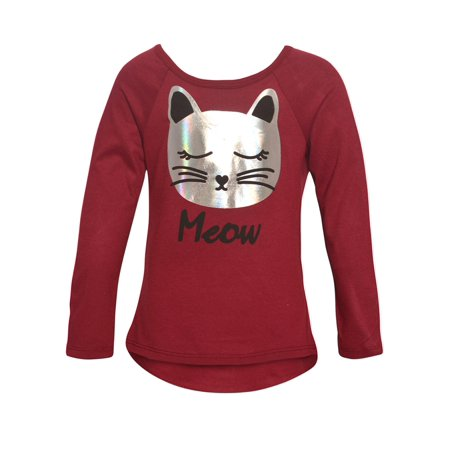Little Girls Burgundy Sparkle Cat Face Detail Long Sleeved Trendy Top