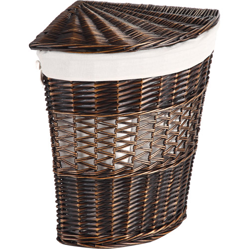 Better Homes and Gardens Wicker Lidded Wedge Hamper, Brown