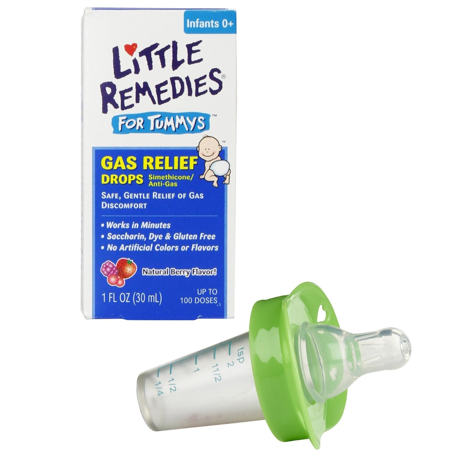 Little Remedies Little Tummys Gas Relief Drops with Pacifier Medicine Dispenser, Green
