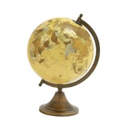 """Decmode - Yellow Metal Spinning Decorative Globe Table Decor, Gold & Copper World Globe, Traditional Decor Metal Globe, Home Decor & Office Decor, 9"""" x 12"""""""