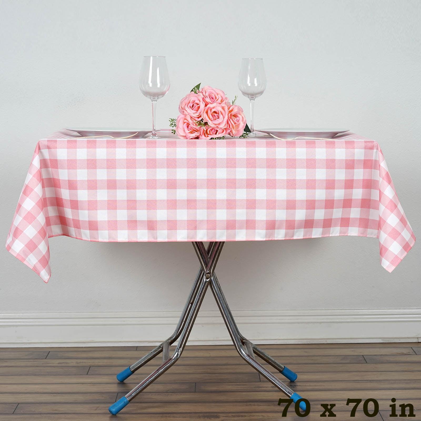 "BalsaCircle 70"" x 70"" Square Gingham Checkered Polyester Tablecloth for Garden... by BalsaCircle"