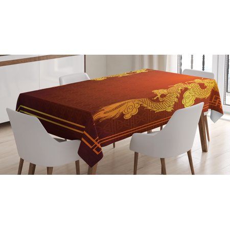 Dragon Tablecloth, Chinese Heritage Historical Asian Eastern Motif with Legendary Creature Design, Rectangular Table Cover for Dining Room Kitchen, 60 X 84 Inches, Red Earth Yellow, by Ambesonne