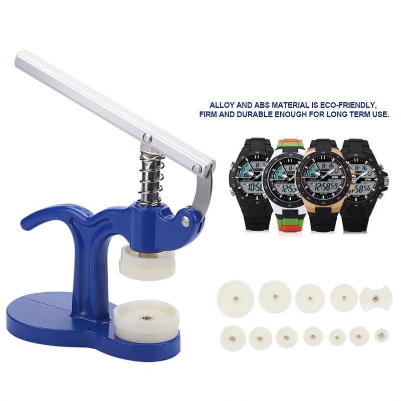 Watchmaker Press Presser Repair Tool With 12 Dies Blue,Watch Back Case Closer Repair Tool Kit