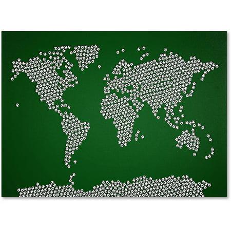 Trademark art soccer balls world map canvas art by michael trademark art soccer balls world map canvas art by michael tompsett gumiabroncs Images