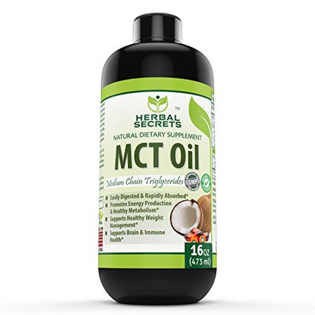Herbal Secret 100% Pure MCT Oil, 16 Fl Oz - Helps in Weight Management * Maintain Lean Muscle