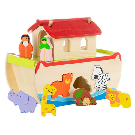 Noah's Ark Kids Playset – Hand Painted Hardwood Children's Bible Figurine Toys by Hey! (Noah's Ark Toy Set)