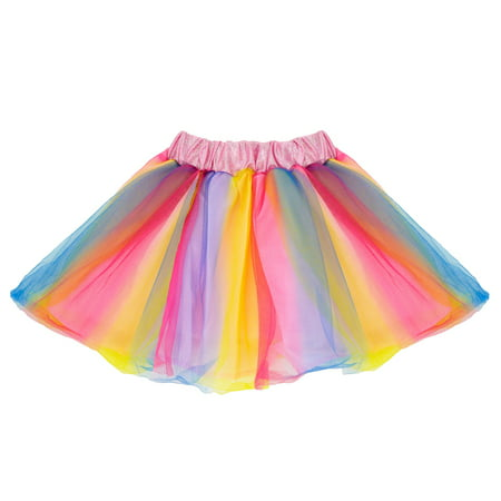 SeasonsTrading Rainbow Tulle Tutu Lined Skirt - Girls (2-7 Years) Princess Fairy Butterfly Unicorn Costume, Birthday Party, Cruise, Dance