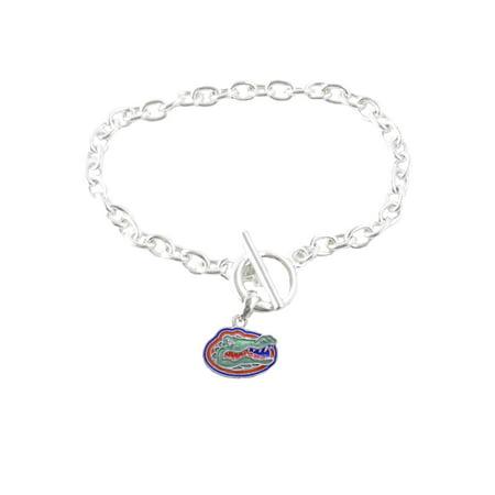 Florida Gators Iridescent Silver Toggle Orange Blue Charm Bracelet Jewelry Uf