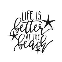 Life Is Better At The Beach Decal Sticker | 5.5-Inches By 5.1-Inches | Black Vinyl