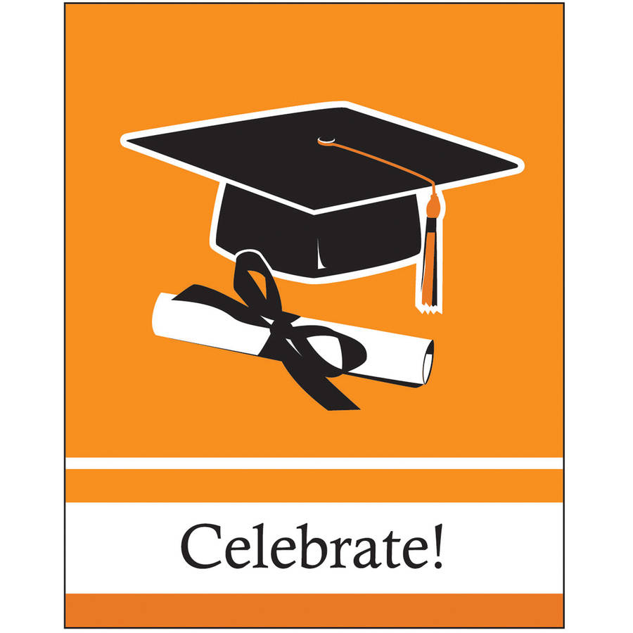 School Colors, Sunkissed Orange Invitations, 25pk