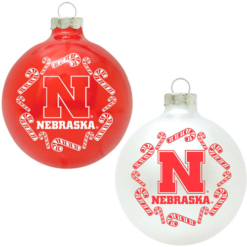 Topperscot NCAA Nebraska Cornhuskers Home and Away Glass Ornament Set, Set of 2