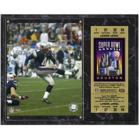 New England Patriots Super Bowl XXXVIII Adam Vinatieri Plaque with Replica Ticket