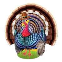 """Club Pack of 12 Colorful Jointed Turkey Thanksgiving Cutout Decorations 17.5"""""""
