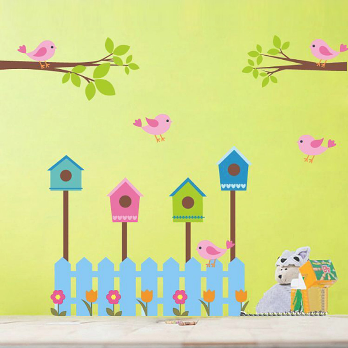 DIY Removable Decal Home Room Decor Birdcage Wall Stickers & Murals Tree Flower Wall Sticker Wallpaper