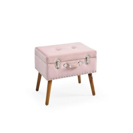 Ottoman Trunk - Hodedah Pink Velvet Storage Trunk Ottoman