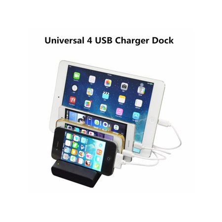 Universal 4 Port USB Hub Charging Dock Station Charger Stand Organizer for iPad for iPhone & Samsung Smart Cell Phone Tablet (Best Docking Station For Iphone 7)