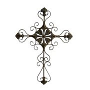 Tall Metal Cross Scroll Design in Rustic (Large)