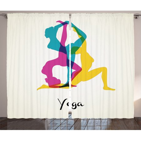 Yoga Decor Curtains 2 Panels Set  Different Yoga Poses Energetic Female In Motion Pilates Human Health Wellbeing Design  Living Room Bedroom Accessories  By Ambesonne