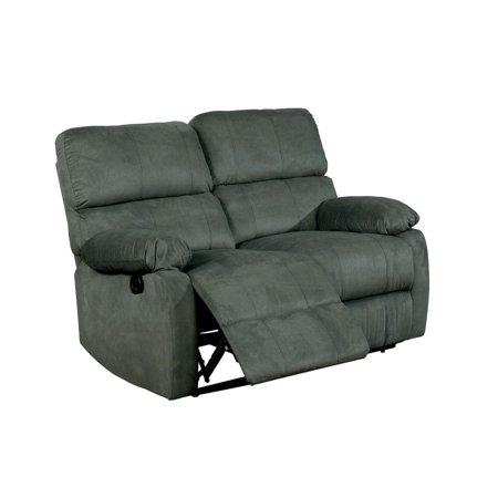 Benzara Grey Fabric Metal Recliner Loveseat with Spilt Back Cushion ()