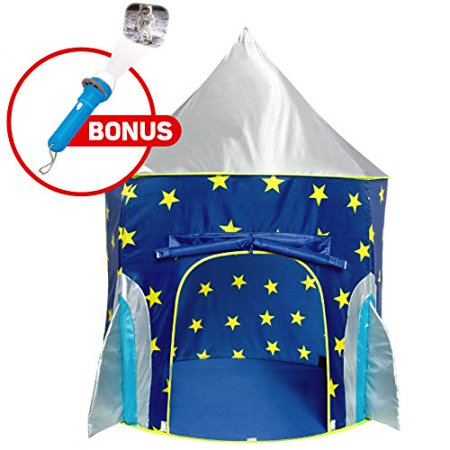 Rocket Ship Play Tent for Boys – Rocket Ship Tent, Astronaut Space Tent for Kids w/ Projector Toy for Indoor Outdoor Kids Pop Up Rocket Tent Fort - image 1 of 1