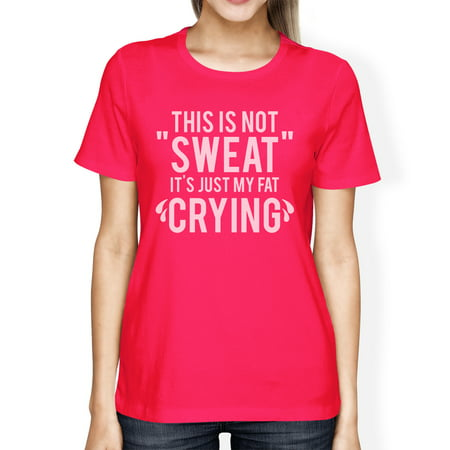 Fat Crying Womens Hot Pink Lightweight T-Shirt Cute Workout (Ladies Hat Pins)