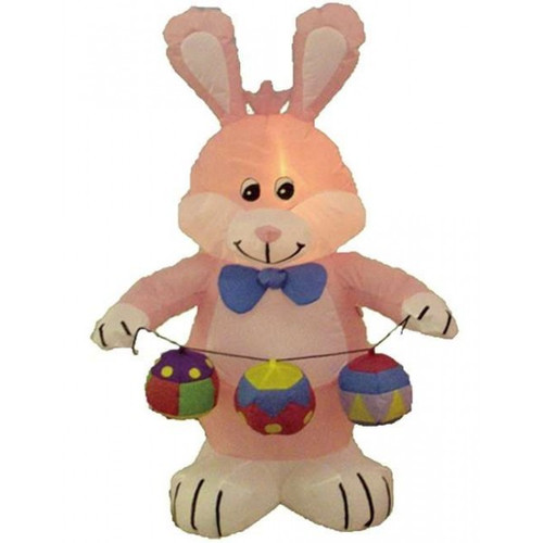 BZB Goods Easter Inflatable Rabbit with Colored Eggs Decoration