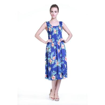 Hawaiian Dress Luau Dress Tank Elastic Dress in Blue Hibiscus