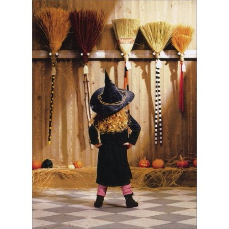 Avanti Press Little Witch Choosing A Broom Funny / Humorous Halloween Card - Halloween Cheese Brooms