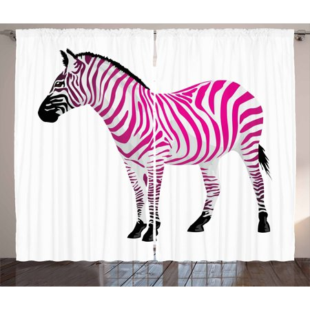 Pink Zebra Curtains 2 Panels Set, Zebra Figure in Pink Stripes ...