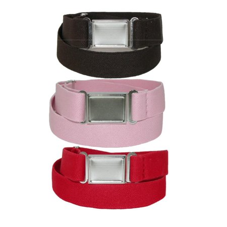Kid's Elastic Stretch Belt with Magnetic Buckle (Pack of 3 Colors), Size: one size ()