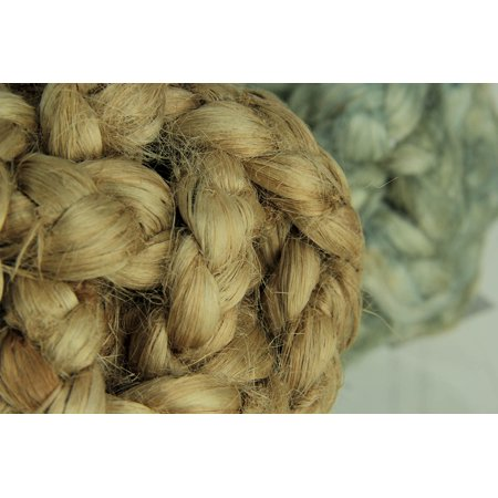 Blue White and Natural Jute Rope Decor Orb 6 inch Set of 3