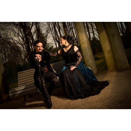 - Peel-n-Stick Poster of Gothic Beautiful Casal Serene Poetry Pose Art Poster 24x16 Adhesive Sticker Poster Print