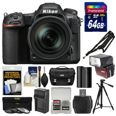 Nikon D500 Wi-Fi 4K Digital SLR Camera & 16-80mm VR Lens with 64GB Card + Case + Flash + Battery & Charger + Tripod + 3 Filters + Kit