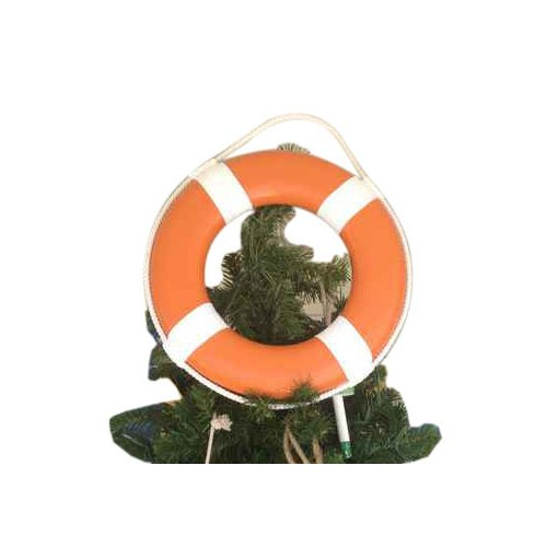 Handcrafted Nautical Decor Lifering with White Bands Christmas Tree Topper Decoration