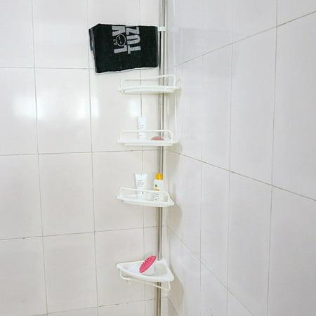 Anauto 4-Tier Bathroom Corner Shelf,Height of 63  -118  Adjustable Telescopic Shower Shelf Shower Corner Rack Stainless Steel Clad Pipe,Adjustable Telescopic,Stainless Steel
