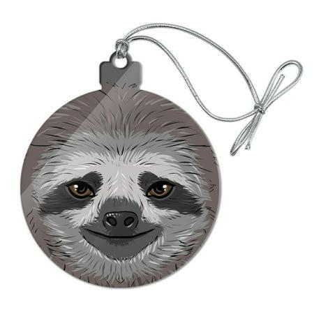 Cute Sloth Face Acrylic Christmas Tree Holiday Ornament