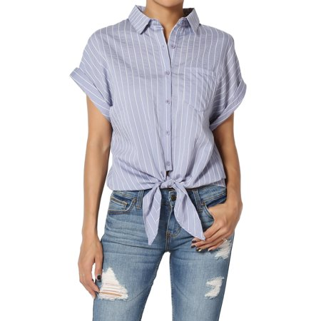 TheMogan Women's Stripe Tie Button Front Cuffed Short Sleeve Crop Shirts Top