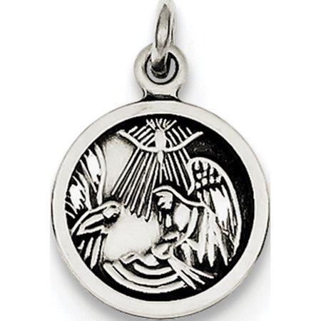 925 Sterling Silver Antiqued Baptism Medal - image 3 of 3