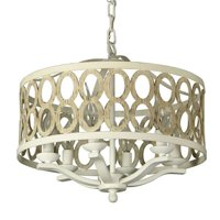 "Canyon Home 8 Light Drum Chandelier (16"" Wide) Steel Frame with Wooden Pattern 