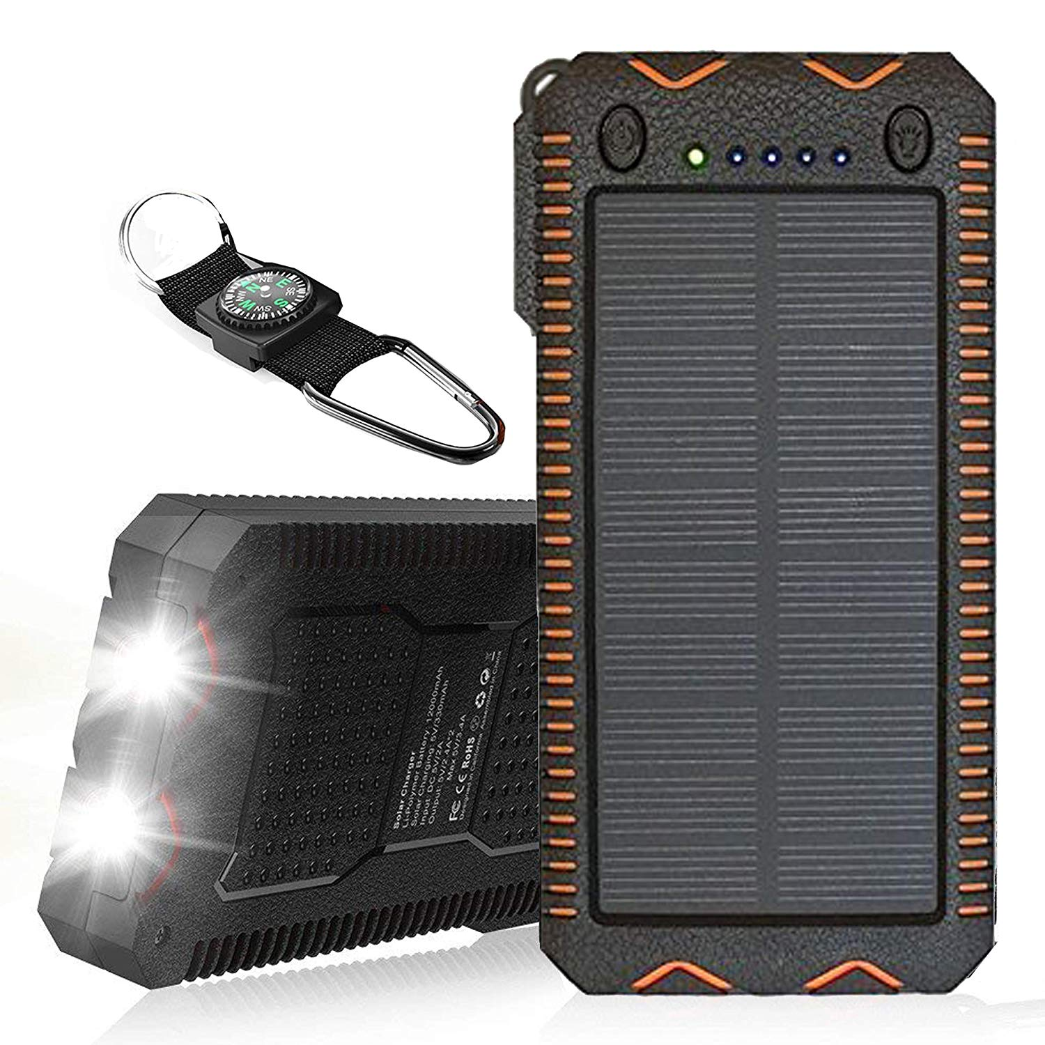 500000mAh Solar Charger with Cigarette Lighter, Solar Power Bank Dual USB Backup Battery Pack Charger, Outdoor Solar External Battery Charger for Smart Phone(Blue)