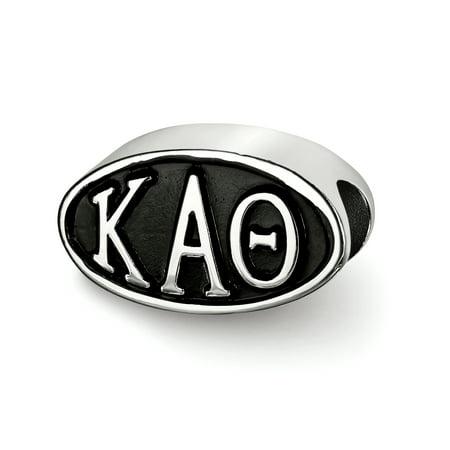 Sterling Silver LogoArt Official Licensed Greek Sororities Kappa Alpha Theta (???) OVAL LETTERS BEAD ()