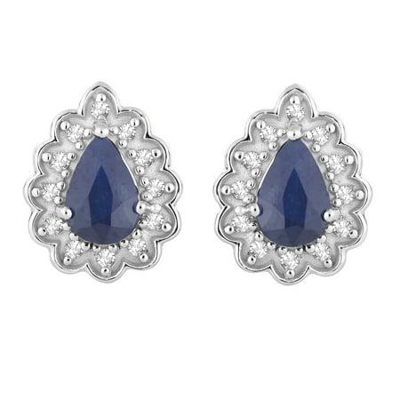 10k White Gold Sapphire & 1/10 Carat T.W. Diamond Teardrop Stud - Gold Sapphire Diamond Drop