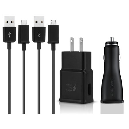 Original Quick Fast USB Car + Wall Charger + 2 USB Cable Compatible with Micromax Canvas Juice 4G Q461 Phones - True Digital Adaptive Fast Charging - Black - image 3 of 9