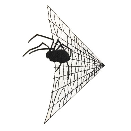 ID 0923 Spider In Web Patch Halloween Decoration Embroidered Iron On Applique - Iron On Halloween Appliques