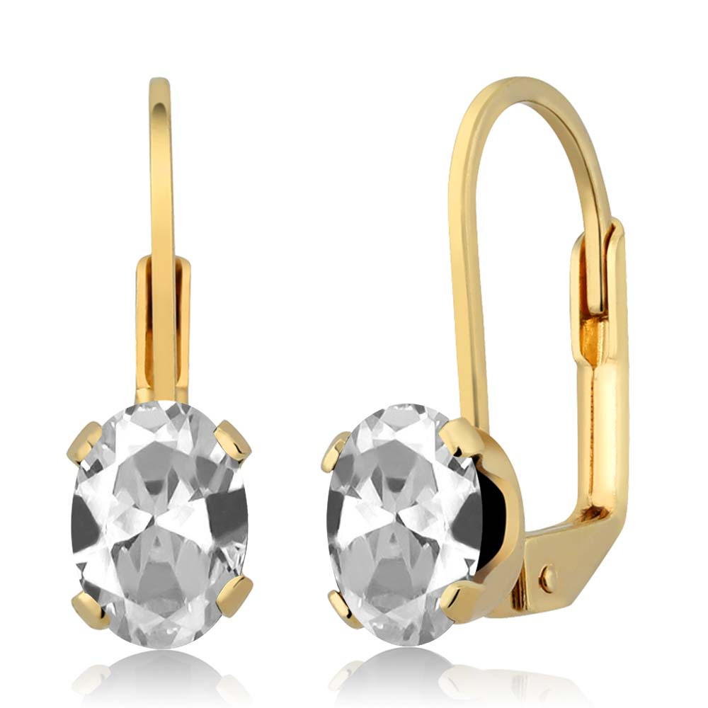 1.90 Ct Oval Shape White Topaz Yellow Gold Plated Brass Stud Earrings
