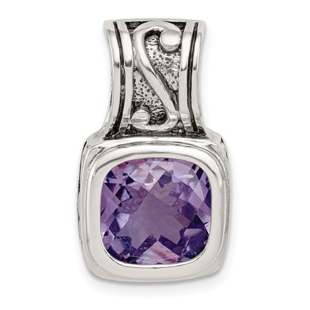925 Sterling Silver Antiqued Amethyst Pendant - image 2 of 2
